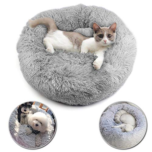 SSAWcasa Donut Dog Bed,24'' Faux Fur Puppy Bed, Round Calming Cuddler Bed for Small Medium Cats or Dogs,Self Warming Indoor Fluffy Luxurious Plush Cushion Pillow Sofa for Pet Up to 20lbs (Gray)