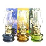 Purism Style- 4 inch Tall Glass Kerosene Oil Lamp Lantern (Set of 3)