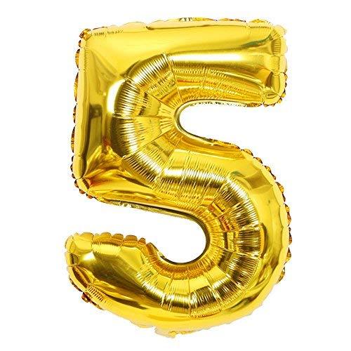 ShopVip Ballons Anniversaire Chiffre 5 Décoration Anniversaire Mariage Géant 80 CM - Grand Ballons Chiffres Or Doré - Ballon Chiffre 5 Ans - Numéro 5 - 50 Ans