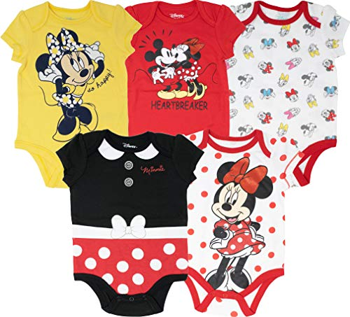 Disney Baby Girls Girl Minnie 5 Pack Bodysuit,Yellow 0-3 Months