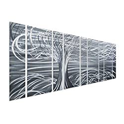 Pure Art Willow Tree of Life Metal Wall Art, Abstract Silver Sculpture Metal Wall Decor, 9-Panels, 86x 32, 3D Wall Art for Modern and Contemporary Decor, for Indoor and Outdoor Spaces