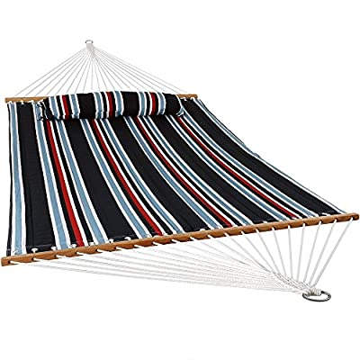 Sunnydaze Quilted Fabric Hammock Two Person with Spreader Bars Heavy Duty 450 Pound Capacity, Nautical Stripe