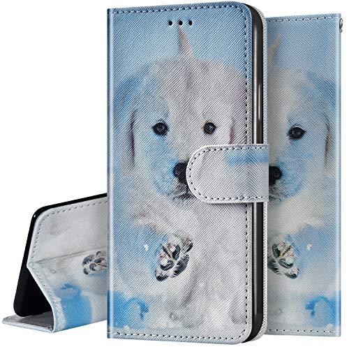 Surakey Kompatibel mit Samsung Galaxy S6 Hülle Leder Handytasche Bunt Gemalt Muster Flip Handyhülle Schutzhülle Magnet Leder Tasche Case im Bookstyle mit Ständer Kartenfächer,Hund