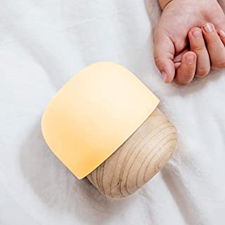 IDMIX USB Mini Lamp, Adjustable Brightness Night Light for Kids, Nursery Small Lamp for Baby Breastfeeding, with Maple Wood and Dimmable Warm Light, Mushroom Beside Small Lamp for Bedroom