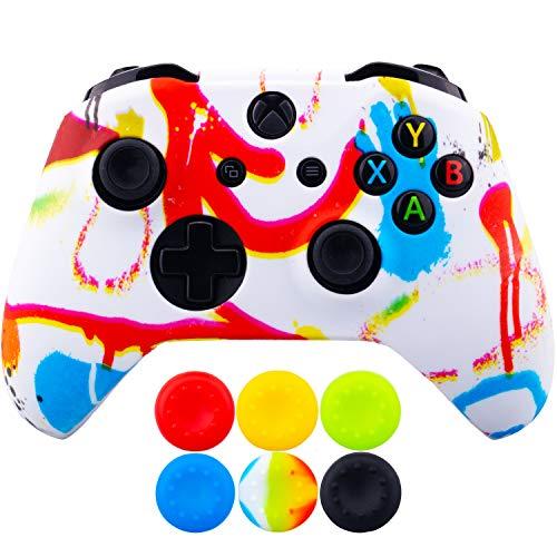 9CDeer 1 Stuk Overdracht Afdrukken Aanpassen Beschermende Siliconen Cover Skin Hoes + 6 Thumb Grips Duimgrepen Analoge Caps voor Xbox One/S/X Controller, Spray-schilderij