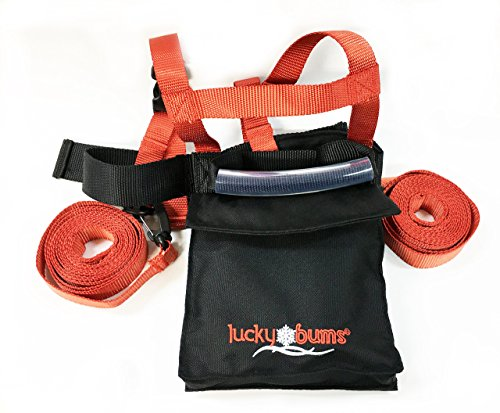 Lucky Bums Kids Ski Backpack Harness Trainer, Leash, Grip 'N Guide Handle, Red