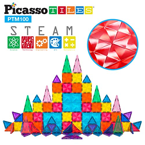 PicassoTiles 100 Pcs Magnetic Building Block Mini Diamond Series Travel Size On-The-Go Magnet Construction Toy Set STEM Learning Kit Educational Playset Child Brain Development Stacking Blocks PTM100