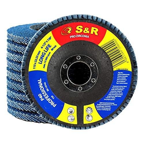 S&R 10 Discos de láminas 115 para Metal, Acero Inox, Madera Grano 40. Discos para amoladora 115