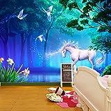 IWJAI Tela no tejida autoadhesiva del mural de la pared de la sala 3D Unicornio, animal, mariposa pared dormitorio posters para pared papel pintado xxl fotomurales decorativos pared fotomurales pared