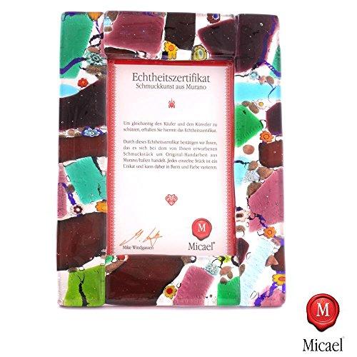 'Vetro di Murano cornice portafoto Sky II cornice per foto argento L macchiato
