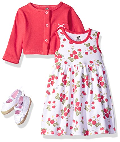 Hudson Baby Girls' Cotton Dress, Cardigan and Shoe Set, Strawberry, 0-3 Months