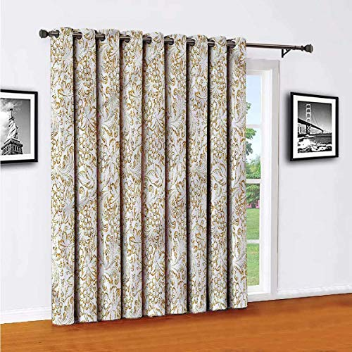 Toopeek Wine Sliding Door Shades,Patio Curtains,Vintage Grungy Grapevine Fruit Insulated Wide Curtains/Bedroom Curtains(Single Panel) W84 x L108 Inch