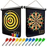 Magnetic Dart Board, Double-Sided Magnetic Board Game with 12 Magnetic Darts Easy Hanging Toy Gift for Kids and Adults Safe Indoors Outdoors Games