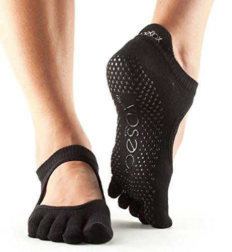 Calcetines antideslizantes para baile Toesox, se pueden utilizar para yoga, pilates y fitness, negro, Small/3-5.5