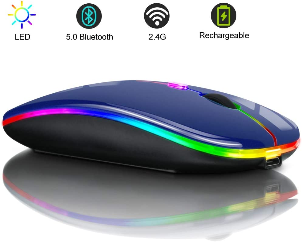 LED Rechargeable Dual Mode Wireless Bluetooth Mouse Bluetooth 5.0 and 2.4G Wireless Slim Mouse 2.4G Portable USB Optical Wireless Mice Mouse for Laptop, PC, Mac OS, Android, Windows(Black