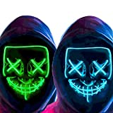 MeiGuiSha 2 Pack Purge Mask Halloween Scary Mask LED Mask Cosplay Light up Mask for Festival Parties (Blue & Green)