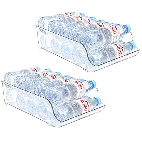 Puricon Organizador de Latas y Botellas para Refrigerador, Puede Poner Botella de Agua de 9×500 ml, Contenedores Apilables de Plástico para Almacenamiento de Bebidas, Frutas, Verduras, Aperitivos, etc