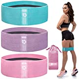 Exercise Resistance Bands for Legs and Butt - 3 Pack Beginner Level, Workout Fabric Non-Slip Gym...