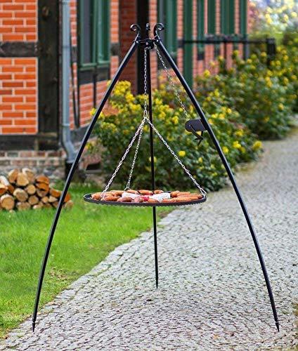 BlackOrange Barbecue suspendu XL 200 cm (pieds concaves) avec manivelle et grille XL Ø 80 cm en acier