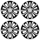 CarXS Two-Tone Style Hubcaps 16' Wheel Covers, Black & Silver Model Cover, Four (4) Pieces Corrosion-Free & Sturdy Full...
