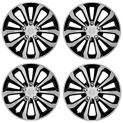 "CarXS Two-Tone Style Hubcaps 16"" Wheel Covers, Black & Silver Model Cover, Four (4) Pieces Corrosion-Free & Sturdy Full Heat & Impact Resistant Grade, 4 Piece Set"