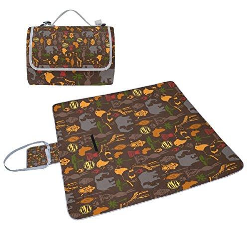 COOSUN African Ethnic Muster mit stilisierten Ikonen Picknick Decke Tote Handlich Matte Mehltau resistent und wasserfest Camping Matte für Picknicks, Strände, Wandern, Reisen, Rving und Ausflüge