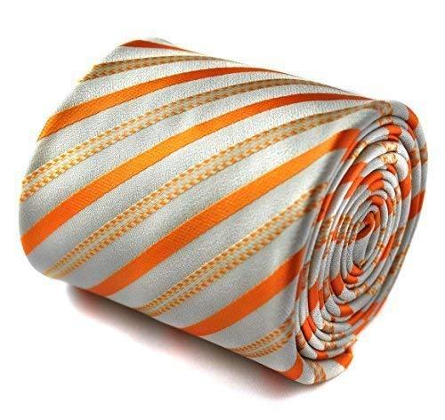 Cravate rayée orange et blanche Frederick Thomas avec motif floral signature à l'arrière
