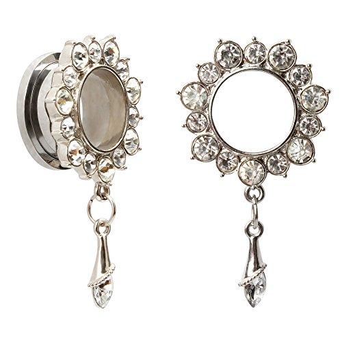 KUBOOZ Ear Piercings Plugs Tunnels Jewelry Gemmed Flower Drop Eyelets Stainless Steel Flare Screw Back Plugs Gauges 0g to 13/16'