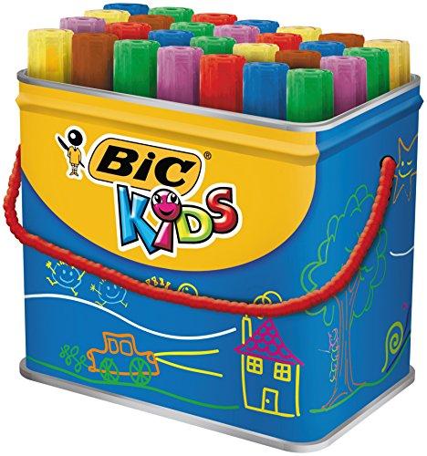 BIC Kids Decoralo Feutres de Coloriage à Pointe Extra Large - Couleurs Assorties, Boîte Métallique de 30