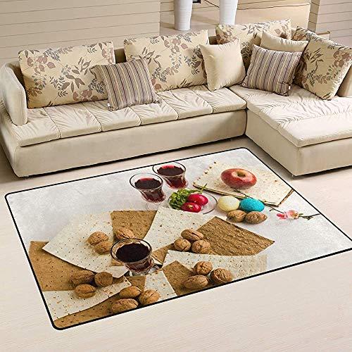 Fun-World Area Rug Pessach ungesäuerte Brot Walnuss Teppiche Fußmatten Innen Polyester rutschfest Multi Rechteck Teppich Küchenboden für Zuhause,150X100Cm