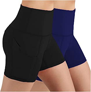 Beishi Womens Pants,2PC Lady Solid Pocket High-Waist Hip Stretch Running Fitness Yoga Shorts