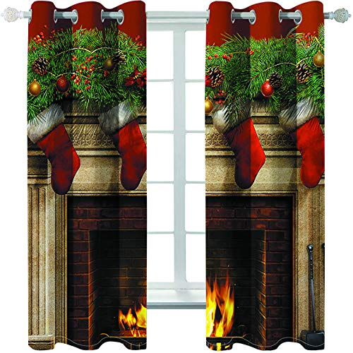 MMHJS Santa Claus 3D Printed Fabric Curtains, Bedroom And Living Room Blinds, Household Items, Wall Decoration (2 Pieces)