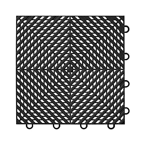 "IncStores ⅜ Inch Thick Nitro Interlocking Garage Floor Tiles   Plastic Floor Tiles for a Stronger and Safer Garage, Workshop, Shed, or Trailer   12""x12"" Tiles, Vented, Black, Pack of 52"