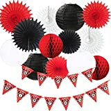Minnie Mouse Party Decorations White Black Red Happy Birthday Banner Polka Dot/ Minnie Mouse First Birthday Decorations Tissue Paper Fans Lanterns Mickey Minnie Mouse Party Supplies