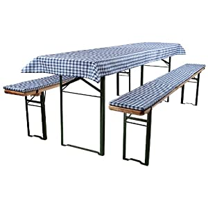 3-tlg Bierzeltgarnitur Auflagen Set inkl. Tischdecke für 50x220cm Biertische | blau weiß kariert
