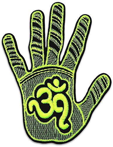 Om Hand patch ijzer naaien op symbool Indiase Hippie alternatief Small Geel