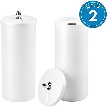 Orb Toilet Paper Holder Canister White//Chrome InterDesign 87000