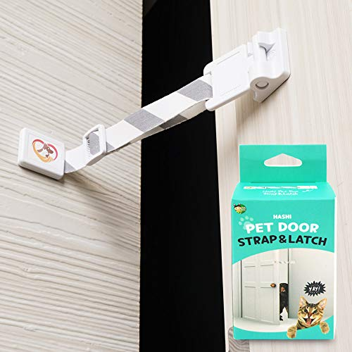 HA SHI Adjustable Door Strap and Latch - Stylish Pattern. Pet Door Stopper. No Need for Pet Gates or Interior Cat Door. Recommend for Pet Owners Who Have Cats and Dogs Together