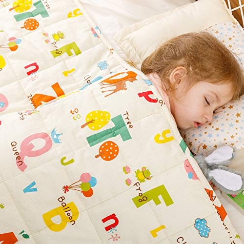 BUZIO Kids Weighted Blanket 10lbs 41 x 60 inches, White Alphabet Weighted Blanket for Kids and Teens, 100% Natural Breathable Cotton Heavy Blanket, Great for Calming and Sleep