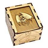 Wood Dice Case DIY Puzzle Storage Box Carved with Dragon & D20 Perfect for RPG, DND, Board or Card Games