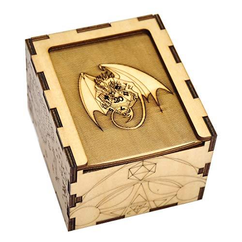 D&D - Scatola per dadi fai da te, in legno, intagliata con drago e D20, perfetta per RPG, DND, carte o giochi di carte