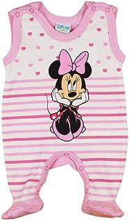 Ärmelloser Baby Mädchen Minnie Mouse Strampler Overall Weiß von Disney mit Füsschen 100% Baumwolle in Größe 56 62 68 74 für 0 3 6 Monate und Frühchen mit Patentknöpfe und Fuß
