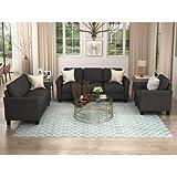 UNIROI Piece Living Room, 3 Seats Loveseat Single Chair Sofa Set, Black