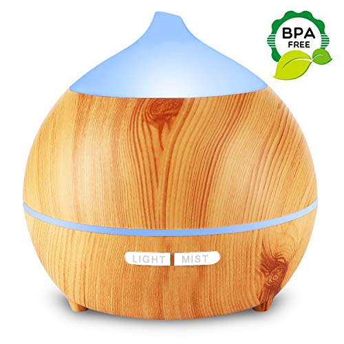 Flowmist Aromatherapy Essential Oil Diffuser, 250ml Ultrasonic Diffuser for Essential Oils, Cool Mist Aroma Diffuser Humidifier, Waterless Auto Shut-Off, 7 Colored LED Lights, Adjustable Mist Mode