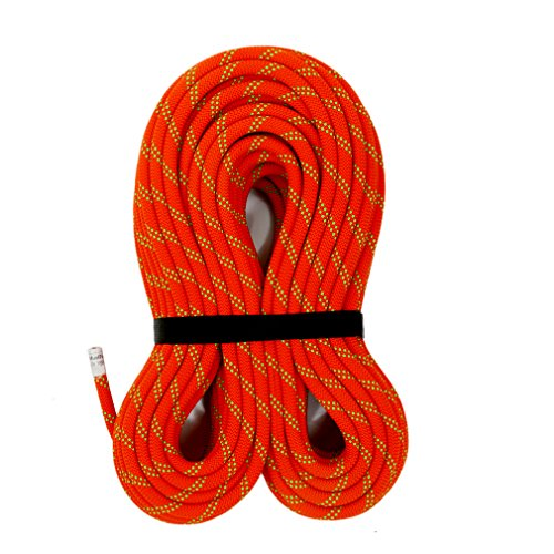 MudFog UIAA Certified 150ft Kernmantle Red Static Rope 11mm  for Rock Climbing Rappelling Canyoneering Rescue Hauling and Mountaineering