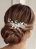 Brinie Leaf Bride Wedding Hair Pins Silver Flower Bridal Hair Clips Crystal Rhinestones Headpiece Hair Accessories for Women and Girls