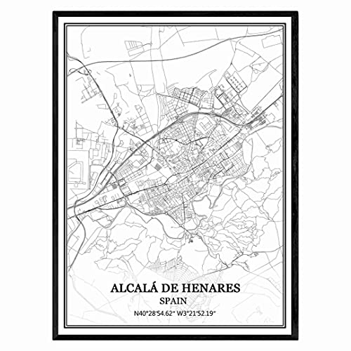 Alcalá de Henares España Mapa de pared arte lienzo impresión cartel obra de arte sin marco moderno mapa en blanco y negro recuerdo regalo decoración del hogar