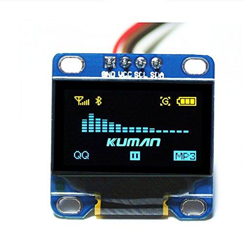 Kuman 0.96 Pulgada Azul Amarillo IIC Módulo OLED