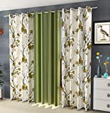 Galaxy Home Decor 3 Piece Combination Polyester 5 ft Window Curtains (Green)