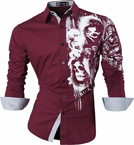 Sportrendy Hommes Chemises Casual Mode Design Slim Fit Dress Shirt JZS047 WineRed L